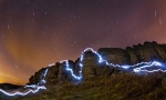 Nightsoloing at Stanage
