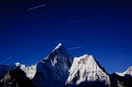 Star trails above Ama Dablam Khumbu - Nepal