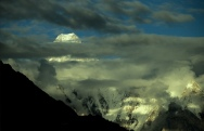 Looking up the Baltoro glacier towards Gasherbrum 4 Pakistan