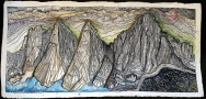 Mt-Whitney-Cirque-Sierra-Mountains-California,-mixed-media-on-arches-paper