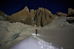 Walking in under a full moon into the Cerro Torre in Patagonia